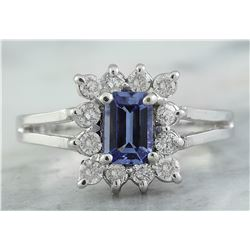 0.98 CTW Tanzanite 14K White Gold Diamond Ring