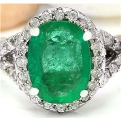 3.29 CTW Natural Emerald 18K Solid White Gold Diamond Ring