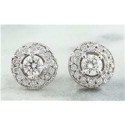 0.60 CTW 18K White Gold Diamond Earrings