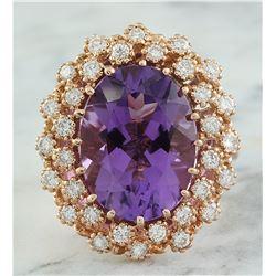 10.19 CTW Amethyst 18K Rose Gold Diamond Ring