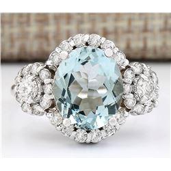 3.92 CTW Natural Aquamarine And Diamond Ring In 14k White Gold
