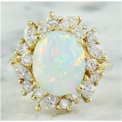 4.95 CTW Opal 18K Yellow Gold Diamond Ring