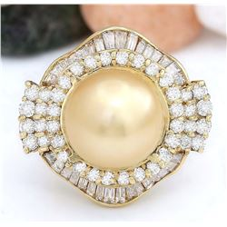 14.08 mm Gold South Sea Pearl 14K Solid Yellow Gold Diamond Ring