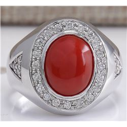 3.50 CTW Natural Red Coral And Diamond Ring 18K Solid White Gold
