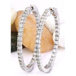 2.50 CTW Natural Diamond 18K Solid White Gold Earrings