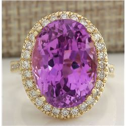 18.62 CTW Natural Kunzite And Diamond Ring 14K Solid Yellow Gold