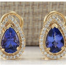 3.62 CTW Natural Tanzanite And Diamond Earrings 18K Solid Yellow Gold