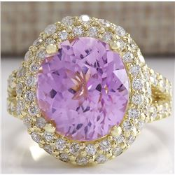 11.51CTW Natural Pink Kunzite And Diamond Ring In 14K Yellow Gold