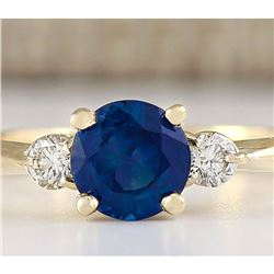 1.40 CTW Natural Sapphire And Diamond Ring In 14k Yellow Gold