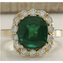 5.10 CTW Natural Emerald And Diamond Ring 14K Solid Yellow Gold