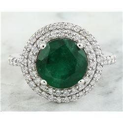 4.47 CTW Emerald 14K white Gold Diamond Ring