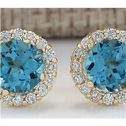 3.65 CTW Natural Blue Topaz And Diamond Earrings 18K Solid Yellow Gold