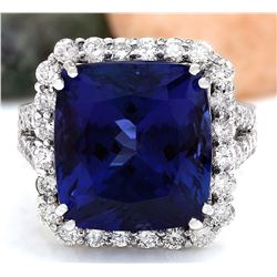 16.92 CTW Natural Tanzanite 18K Solid White Gold Diamond Ring