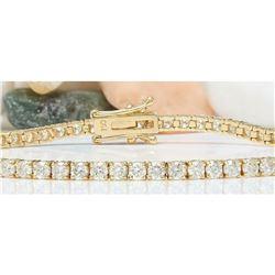 4.68 CTW Natural Diamond 18K Solid Yellow Gold Bracelet