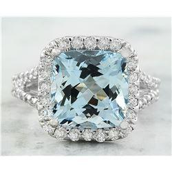 5.85 CTW Aquamarine 18K White Gold Diamond Ring