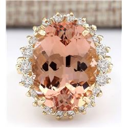 13.43 CTW Natural Morganite And Diamond Ring In 14k Solid Yellow Gold