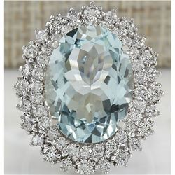 9.68 CTW Natural Blue Aquamarine And Diamond Ring In 18K White Gold