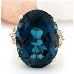 12.25 CTW Natural Topaz 14K Solid Yellow Gold Diamond Ring