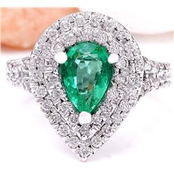 2.70 CTW Natural Emerald 18K Solid White Gold Diamond Ring