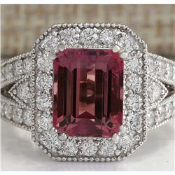 5.78 CTW Natural Pink Tourmaline And Diamond Ring 14K Solid White Gold
