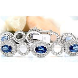 10.58 CTW Natural Sapphire 18K Solid White Gold Diamond Bracelet