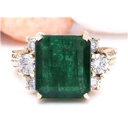 5.25 CTW Natural Emerald 14K Solid Yellow Gold Diamond Ring