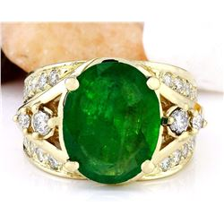 5.67 CTW Natural Emerald 14K Solid Yellow Gold Diamond Ring