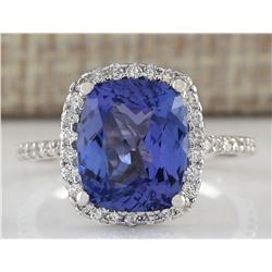 4.40 CTW Natural Tanzanite And Diamond Ring In 14K White Gold