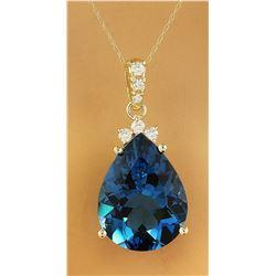 18.35 CTW Topaz 14K yellow Gold Diamond Necklace