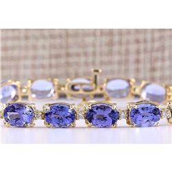 29.50 CTW Natural Tanzanite And Diamond Bracelet In 14k Solid Yellow Gold