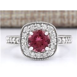 2.10 CTW Natural Pink Tourmaline And Diamond Ring 14k Solid White Gold