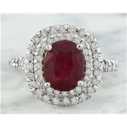 3.88 CTW Ruby 14K White Gold Diamond Ring