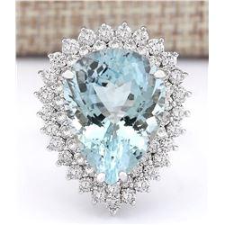 13.66 CTW Natural Aquamarine And Diamond Ring In 18K White Gold