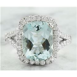 3.90 CTW Aquamarine 18K White Gold Diamond Ring