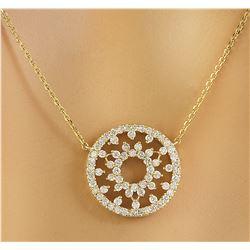 1.00 CTW Diamond 18K Yellow Gold Medallion Pendant Necklace