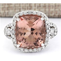12.01 CTW Natural Morganite And Diamond Ring In 18K White Gold
