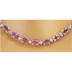 29.13 CTW Pink Sapphire 18K White Gold Diamond Necklace