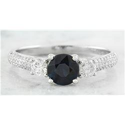 1.56 CTW Sapphire 14K White Gold Diamond Ring