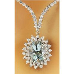 11.75 CTW Aquamarine 14K White Gold Diamond Necklace