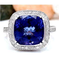 12.07 CTW Natural Tanzanite 18K Solid White Gold Diamond Ring