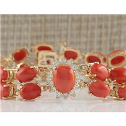 31.50CTW Natural Red Coral And Diamond Bracelet In 18K Solid Yellow Gold