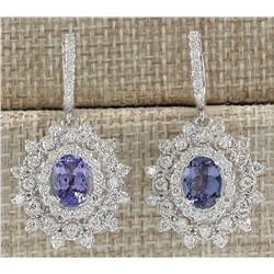 5.50 CTW Natural Tanzanite And Diamond Earrings 18K Solid White Gold