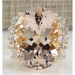 24.99 CTW Natural Morganite And Diamond Ring In 18K Yellow Gold