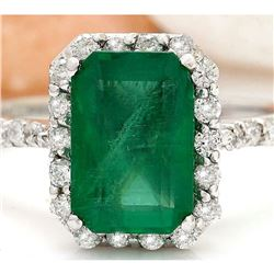 2.90 CTW Natural Emerald 18K Solid White Gold Diamond Ring
