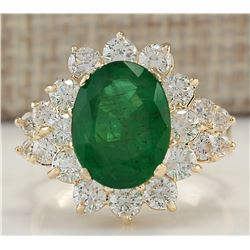 5.30 CTW Natural Emerald And Diamond Ring In 18K Yellow Gold