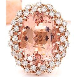 17.28 CTW Natural Morganite 18K Solid Rose Gold Diamond Ring