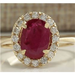 1.81 CTW Natural Red Ruby And Diamond Ring 14K Solid Yellow Gold