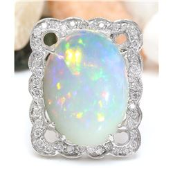 13.10 CTW Natural Opal 18K Solid White Gold Diamond Ring