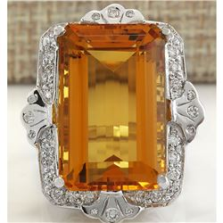 21.49 CTW Natural Citrine And Diamond Ring 18K Solid White Gold