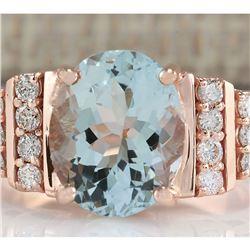 3.66 CTW Natural Aquamarine And Diamond Ring In 18K Rose Gold